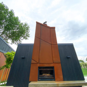 Rusted Corten Steel Outdoor Fireplace